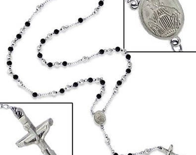 Rosary Bead Black Silver Colour Stainless Steel HIGH QUALITY Rosary Bead Crucifix Cross Necklace Chain  31.5 inch