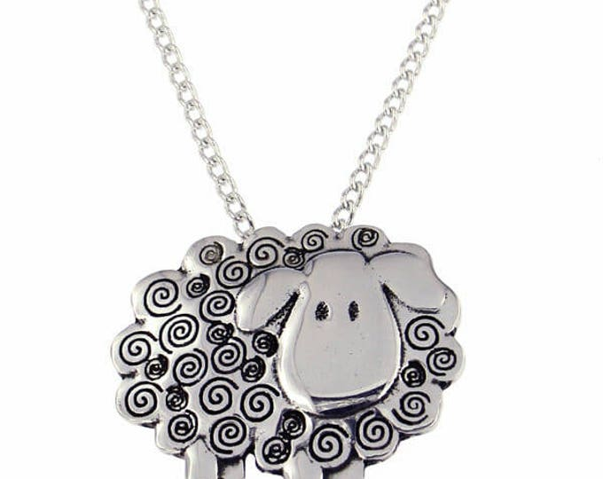 Necklace Swirly Sheep pendant with 18 inch Chain -Made and Design in UK