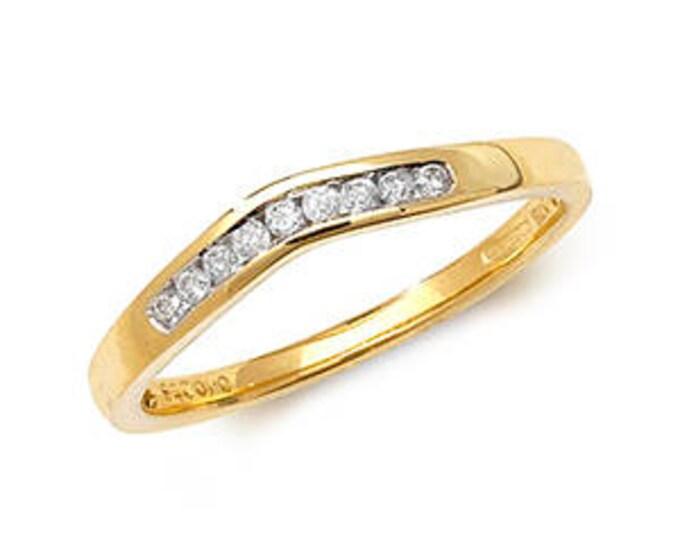 Diamond Wishbone Yellow Gold Ring