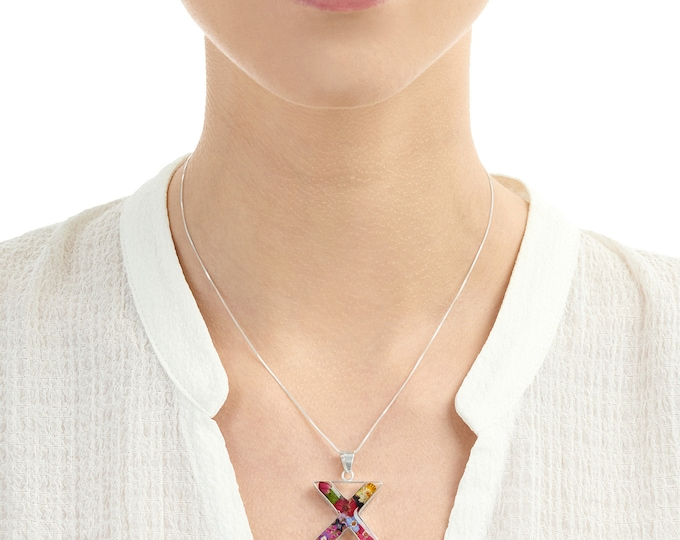 X initial Mix Flower Forget- Me- Not -Rose Pendant Real Flower Necklace 18 inch chain - Hand Made in UK