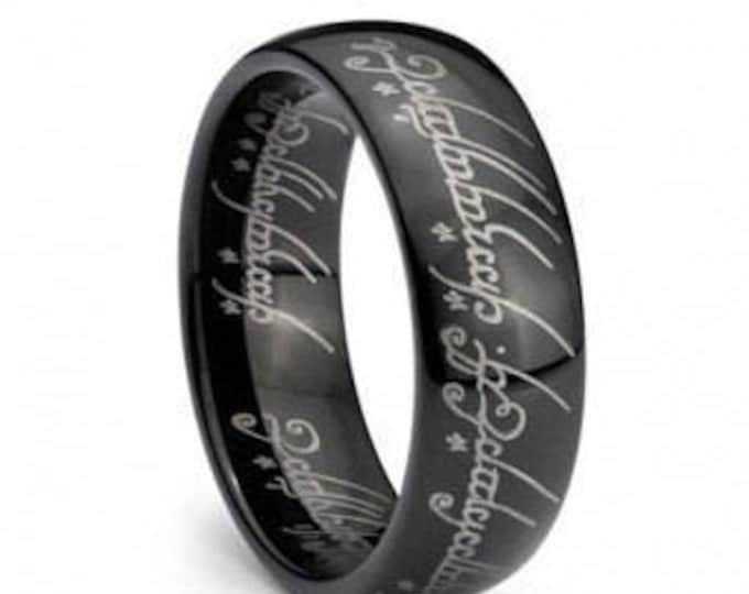 Black Plated Elvish Script Tungsten Carbide Men & Women Laser-etched Wedding Band Ring - 7mm