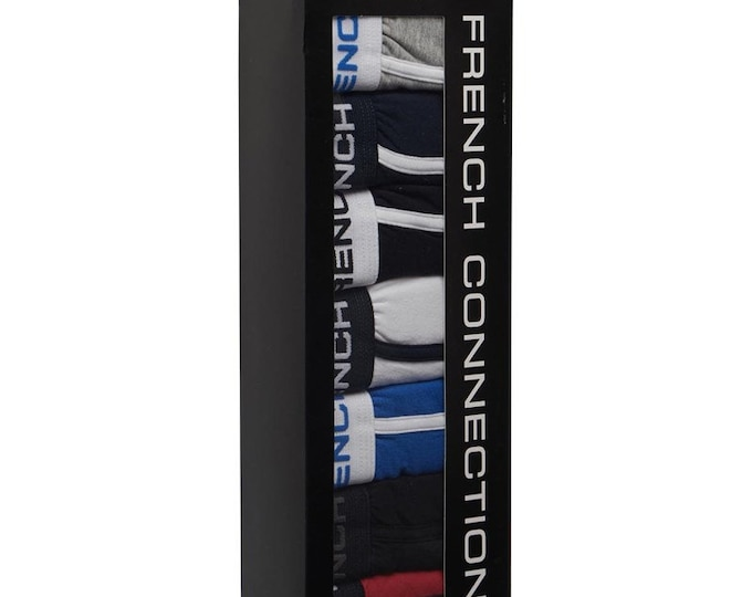 French Connection Men FCUK  Seven Pack Boxer Trunks Grey/Black/Marine/Prince/Red/Black- Sizes:XS-XXXL