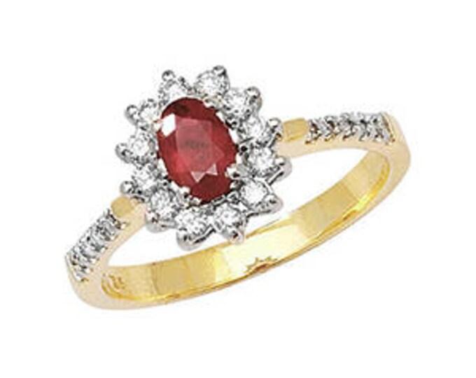 Diamond & RUBY Yellow Gold Engagement Wedding Ring Diamond Cluster Ring