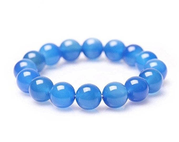"""Blue Chcaledony Bracelet Natural Gemstone 7""""- 7.5"""" Stretch Bracelet Available in 8 & 10 mm Round Beads-Ideal Gift For Him Her"""