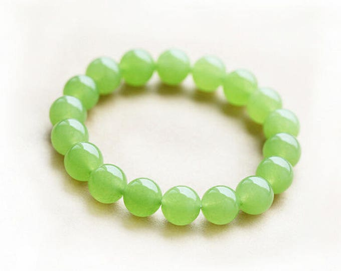 "10mm Green Chcaledony Bracelet Natural Gemstone 7""- 7.5"" Stretch Bracelet Round Beads-Ideal Gift For Him Her"