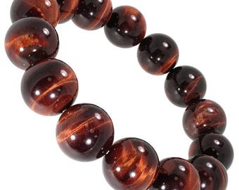 """Red Tiger's Eye Gemstone Stretch Bracelet 7""""- 7.5"""" Available in 8 & 10 mm Round Beads-Red (Unisex)"""