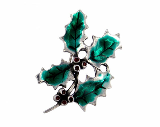 Holly brooch with green enamel -Hand Made and Design in UK