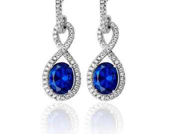 Infinity  Earring CZ & Drops 925 Sterling Silver Fancy Earring -Available: in Emerald -Ruby -Sapphire - Ideal Gift For Birthday  Her Mom