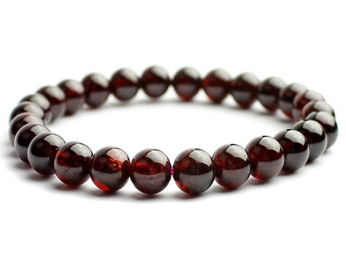 """Garnet Birthstone Anniversary Gemstone Natural  Bracelet 7""""- 7.5"""" Stretch Bracelet Available in 6- 8- 10 mm Round Beads- Dark Red (Unisex)"""