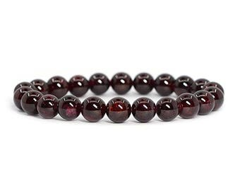 "Garnet January Birthstone Gemstone Natural  Bracelet 7""- 7.5"" Stretch Bracelet Available in 6- 8- 10 mm Round Beads- Dark Red (Unisex)"