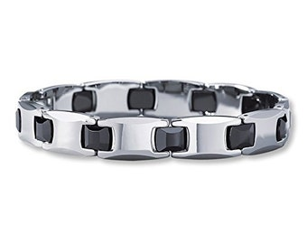 Tungsten 9 inch Men Unisex  Black Ceramic & Tungsten Carbide Bracelet