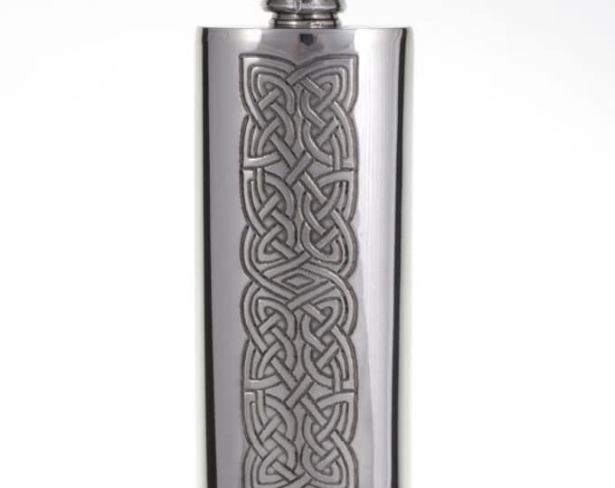 2 oz Celtic Knot panel slim flask   -Hand Made and Design in UK