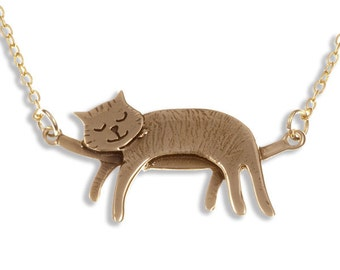 Bronze Sleeping cat necklace –  Hand Made in UK