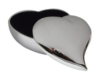 Personalised Hearts Swish Heart Silver plated Trinket Box (engravable)- Ideal Gift For Mum -Dad- Wedding -Anniversary