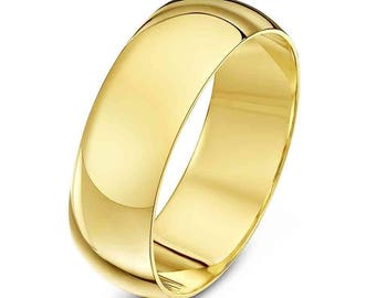 6 mm Cobalt Chrome  18K Gold Plated Domed Shape Polished Ring Wedding Band - Comfort fit