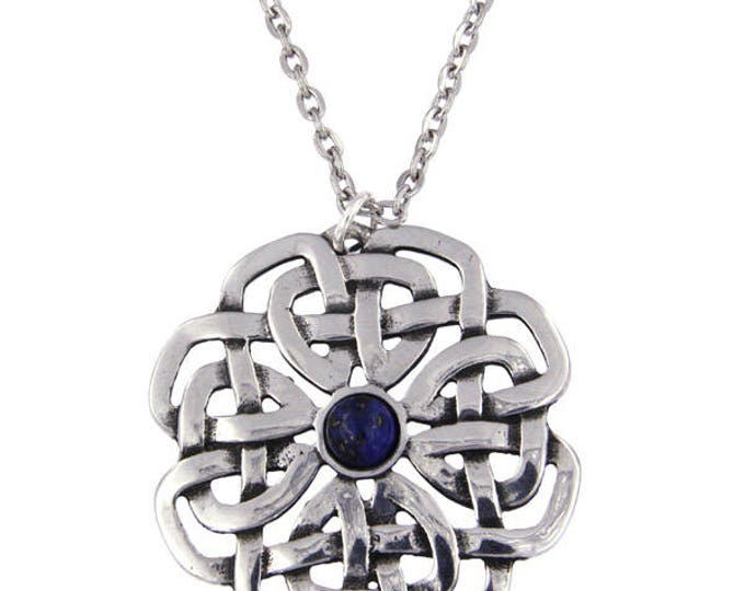 Celtic Rose Lapis Pendant Necklace Ideal Gift For Her Mom and Birthday