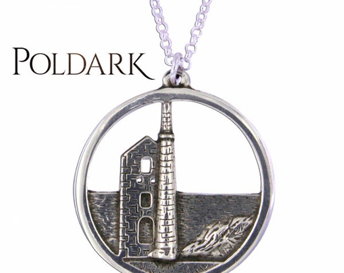 Poldark Wheal Leisure mine pendant with Sterling Silver Chain - Hand Made in UK