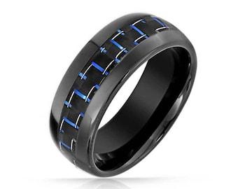 Tungsten Blue & Black Carbon Fibre Tungsten Engraved Unisex Wedding Ring 8mm- Men Women Unisex Ring