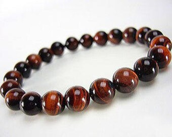 "Red Tiger's Eye Gemstone Stretch Bracelet 7""- 7.5"" Available in 8 & 10 mm Round Beads-Red (Unisex)"