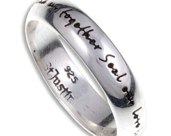 St. Justin English Love Ring –Sterling Silver Love Ring with an inscription high polished