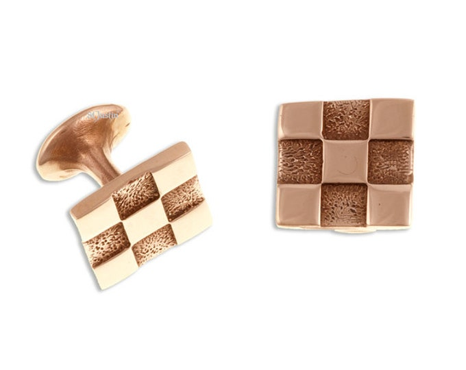 Chequered Cufflinks – bronze - Hand Made and Design in UK-SKU: BZCL02