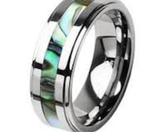 TUNGSTEN CARBIDE Comfort  fit Unisex Wedding  Ring Band inlay Abalone Shell -8mm