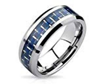CLEARANCE SALE   Blue Carbon Fiber Tungsten Carbide 8mm Men's /Women's Ring Band Sizes 6-15 - Comfort fit