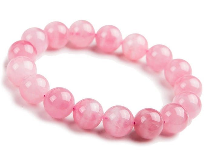 "Genuine Rose Quartz  Pink Stone Bring Good Luck Natural Gemstone 7""- 7.5"" Stretch Bracelet Available in 8 & 10 mm Round Beads-Unisex"