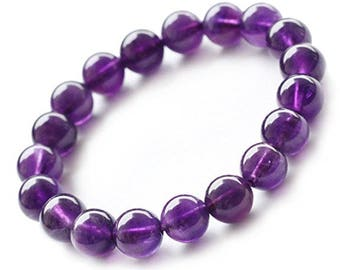 "Amethyst February  Birthstone Gemstone Natural  Bracelet 7""- 7.5"" Stretch Bracelet Available in 8 & 10 mm Round Beads- Purple/Lilac (Unisex)"