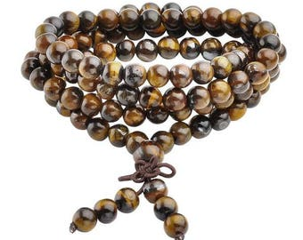 Buddhist Prayer Beads Mala Bracelet Necklace  6mm -Tiger Eyes & Red Agate-Blue Sandstone-Gold Sandstone-Black Obsidian-Ideal Gift-Bulk Order