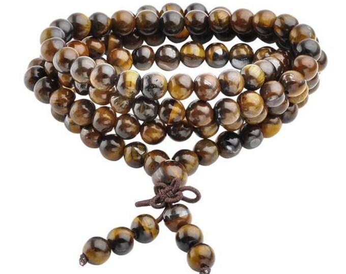 Buddhist Prayer Beads Mala Bracelet Necklace  6mm -Tiger Eyes & Red Agate-Blue Sandstone-Gold Sandstone-Black Obsidian-Ideal Gift-Bulk Order