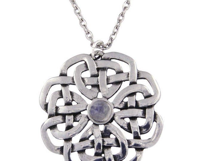 Celtic Rose Moonstone Pendant Necklace Ideal Gift For Her Mom and Birthday