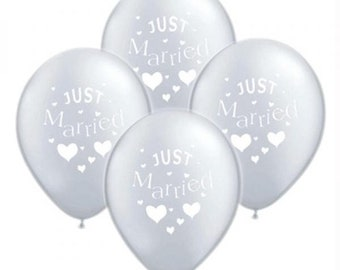 100 Pack Just Married Balloons in Gold- Ivory- Silver- White- Purple- Suitable for Helium or Air- 100 Packs