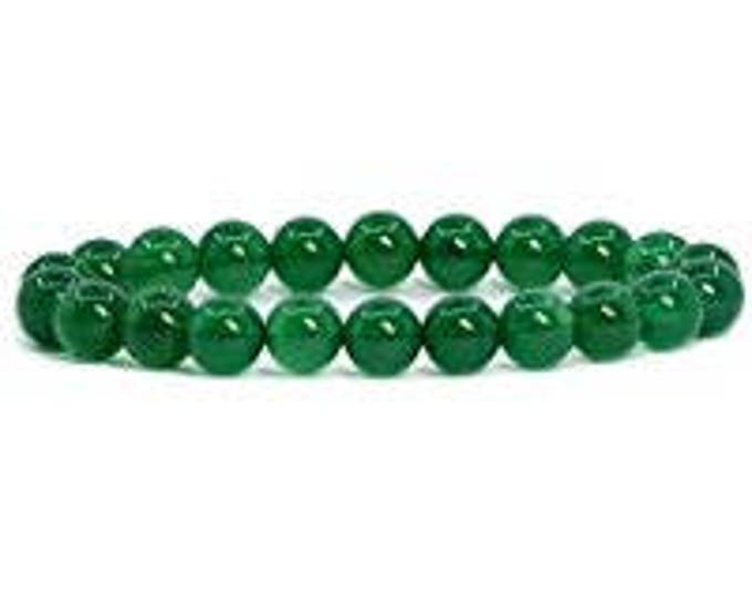 "Green Agate Bracelet Natural Gemstone 7""- 7.5"" Stretch Bracelet Available in 8 & 10 mm Round Beads-Unisex"