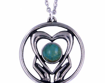 Turquoise Love Heart  Pendant Necklace- Hand Made in UK