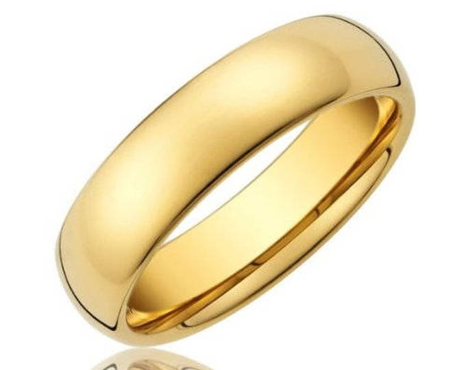 6mm 18k  Gold Plated Tungsten Carbide Men's /Women's Wedding Ring Band - Comfort fit