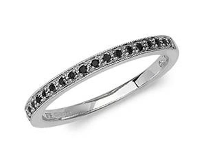 Black Eternity Diamond Wedding Band  Ring- Ideal For Her - Mom- Birthday