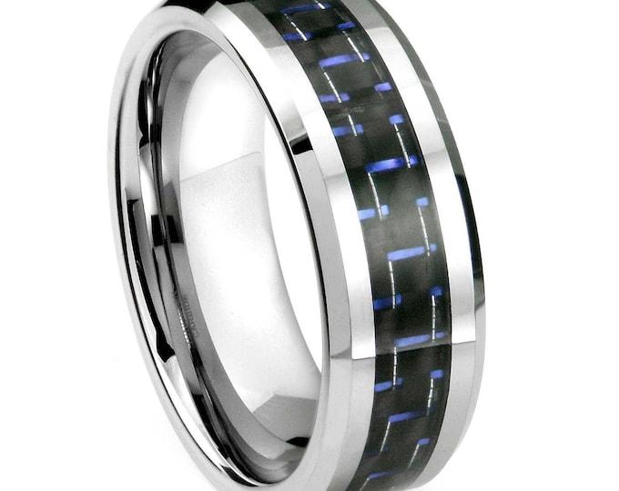 8 mm  Blue & Black Carbon Fiber Tungsten Carbide Men's /Women's Ring Band Sizes 6-15 -8mm - Comfort fit