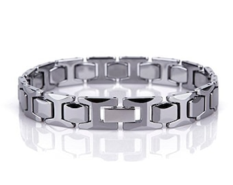 8.5 Inch Men Unisex H Design Bracelet Tungsten Carbide H Link - 216 mm (8.5 inch)