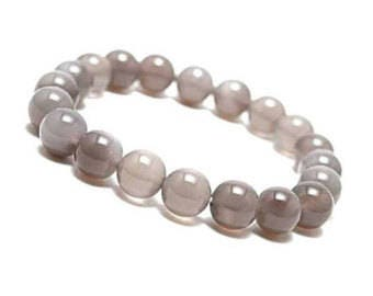 """Grey Agate Bracelet Natural Gemstone 7""""- 7.5"""" Stretch Bracelet Available in 8 & 10 mm Round Beads-Unisex"""