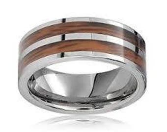 Tungsten Unique Double Wood Inlay Tungsten Carbide Wedding Anniversary Ring Band - Comfort fit For Him Her
