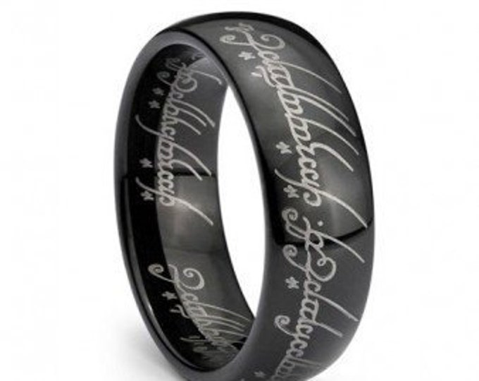 Black Plated Elvish Script  Lord Ring Tungsten Carbide Men & Women Laser-etched Wedding Band Ring - 7mm