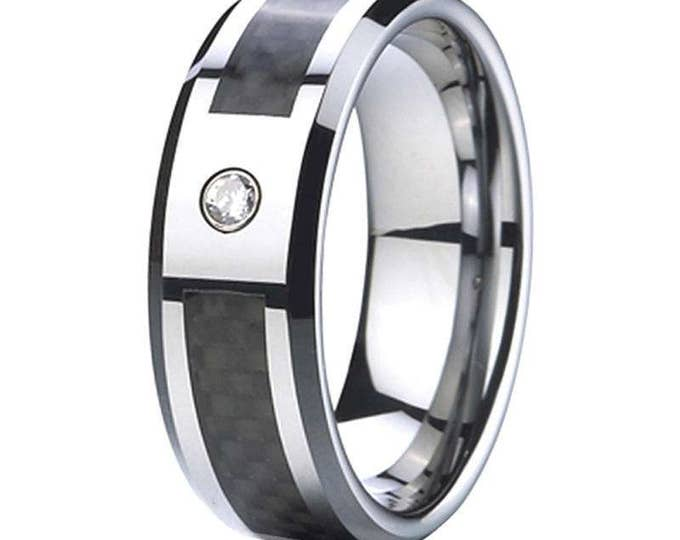 SALE 9/1/2 - T  8mm Cubic Zirconia (1 CZ) Black Carbon Fiber Tungsten Carbide Men's /Women's Ring Band Comfort fit-