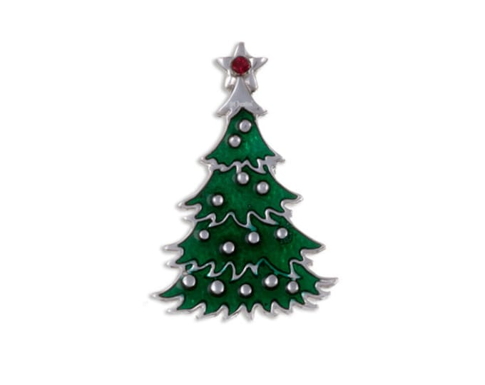 Pewter  Green  Christmas Tree  Brooch -Hand Made and Design in UK