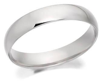 R4U 4 mm Cobalt Chrome Domed Shape Polished Ring Wedding Band - Comfort fit