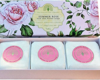 UK Brand English Summer Rose 3 x 100g Gift Boxed Hand Soaps- Ideal Gift For Him or Her