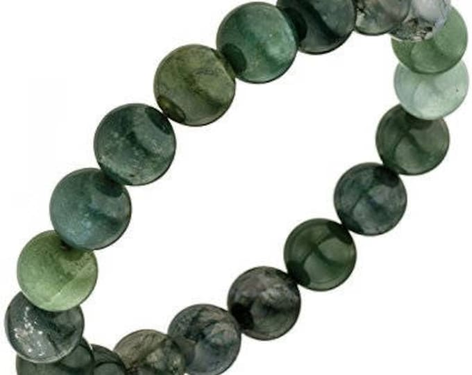 """Green Moss Agate Bracelet Water Weed Jade Agate Natural Gemstone 7""""- 7.5"""" Stretch Bracelet Available in 8 & 10 mm Round Beads-Unisex"""