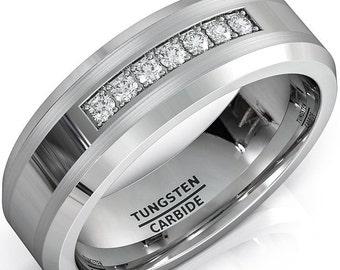 Tungsten 8mm CZ Diamonds Tungsten Carbide Ring Mens Women Wedding Band - Comfort fit
