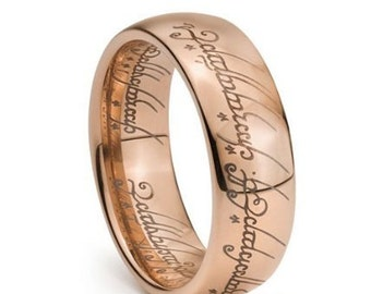 Rose Gold Plated Elvish Script Tungsten Carbide Men & Women Laser-etched Wedding Band Ring - 7mm