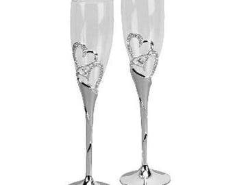 Wedding Flute Glass Wedding -Engagement- Valentine- Champagne Flutes with Crystal Hearts in Gift Box
